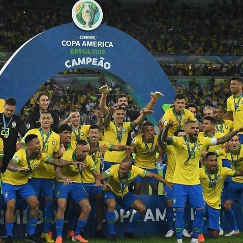 Brazil celebrate their Copa America triumph of 2019