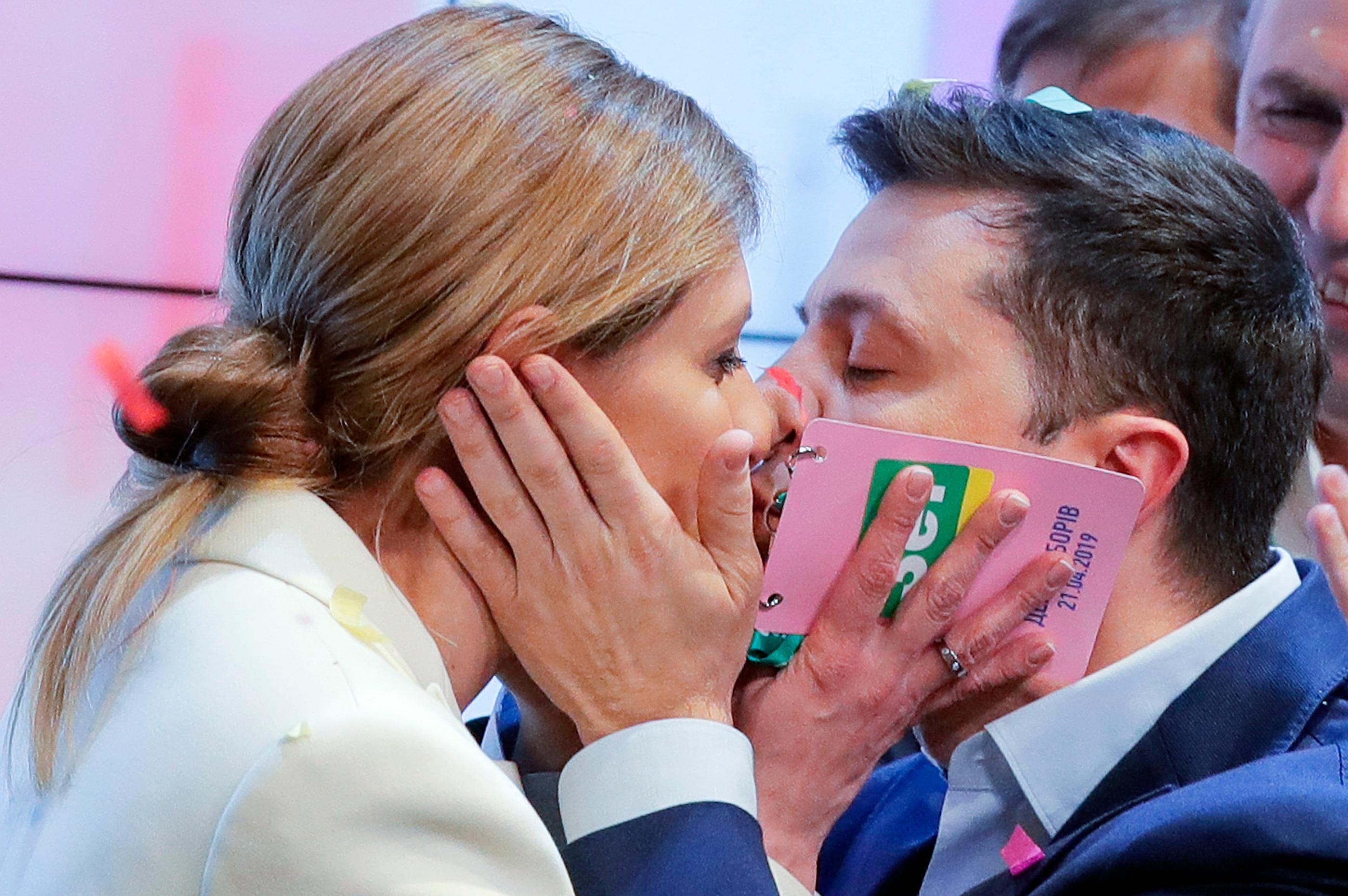 Ukrainian comedian and presidential candidate Volodymyr Zelenskiy, and his wife Olena Zelenska.