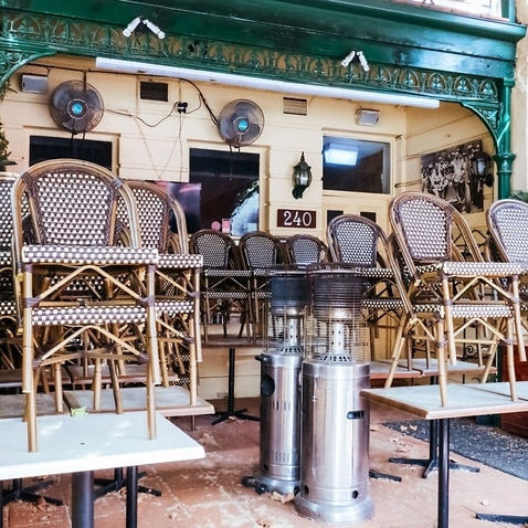 MELBOURNE, AUSTRALIA - OCTOBER 10th 2020: Lygon St restaurants are closed and packed up empty during the Coronavirus pandemic and associated lockdown.