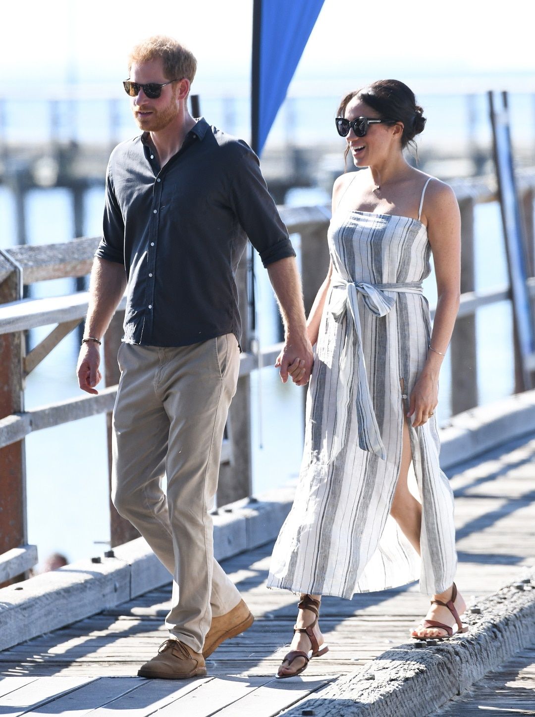 Prince Harry and Meghan reunited for a walk along the Kingfisher Jetty on Fraser Island.