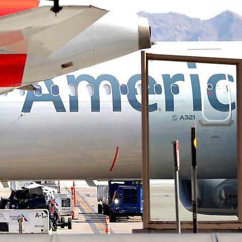 American Airlines plane on runway