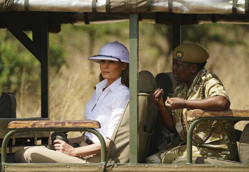 Melania Trump criticised for wearing 'colonialist' pith helmet on Kenyan safari