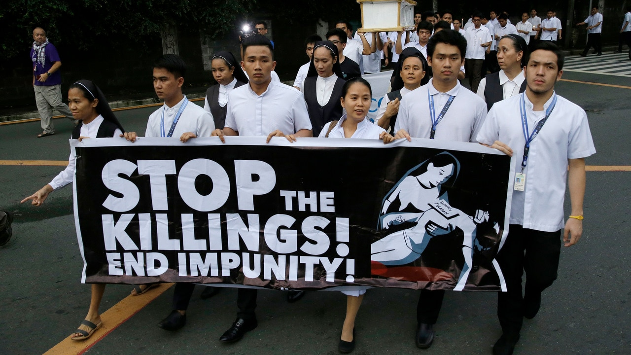 Filipino seminarians and nuns protest in metropolitan Manila against drug-related killings and martial law on 29 August 2018.