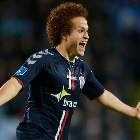 Mustafa Amini celebrates a goal for AGF Aarhus