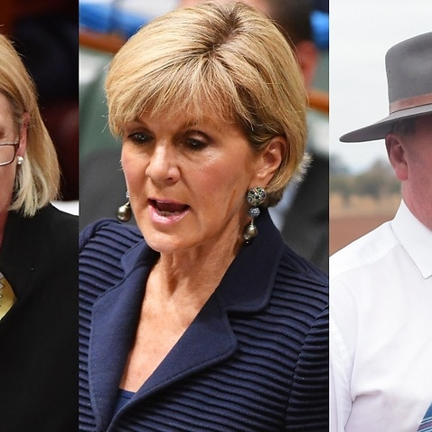 File image: Fiona Nash, Acting Prime Minister Julie Bishop and Barnaby Joyce