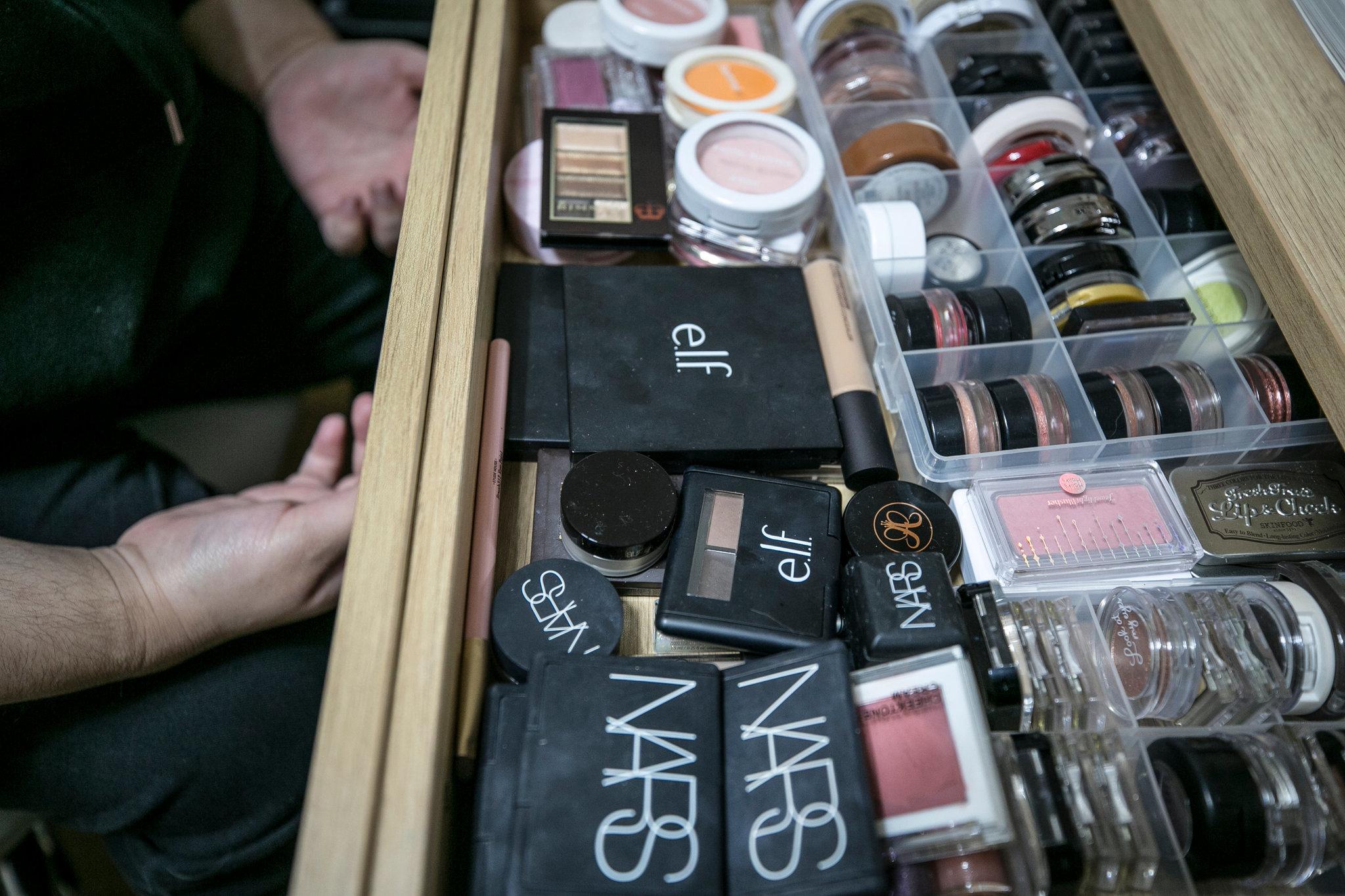Lina Bae's drawer full of makeup kits.
