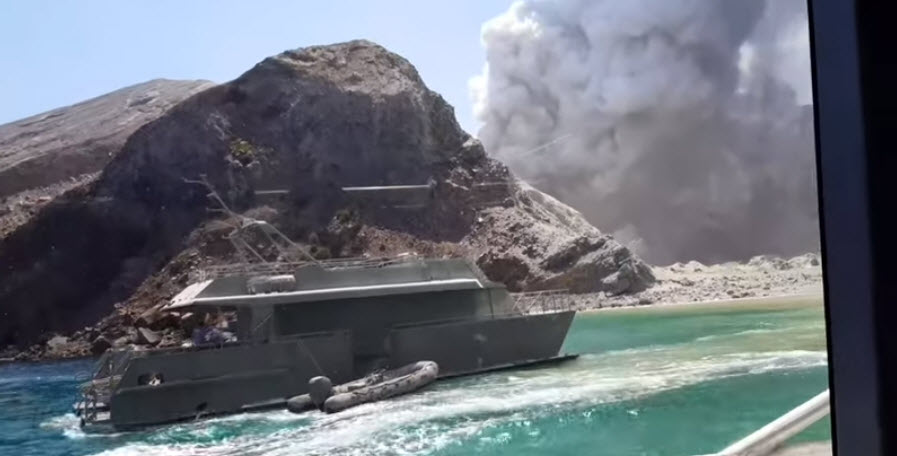 Video taken from inside a tour boat captured the moments after the volcano erupted.