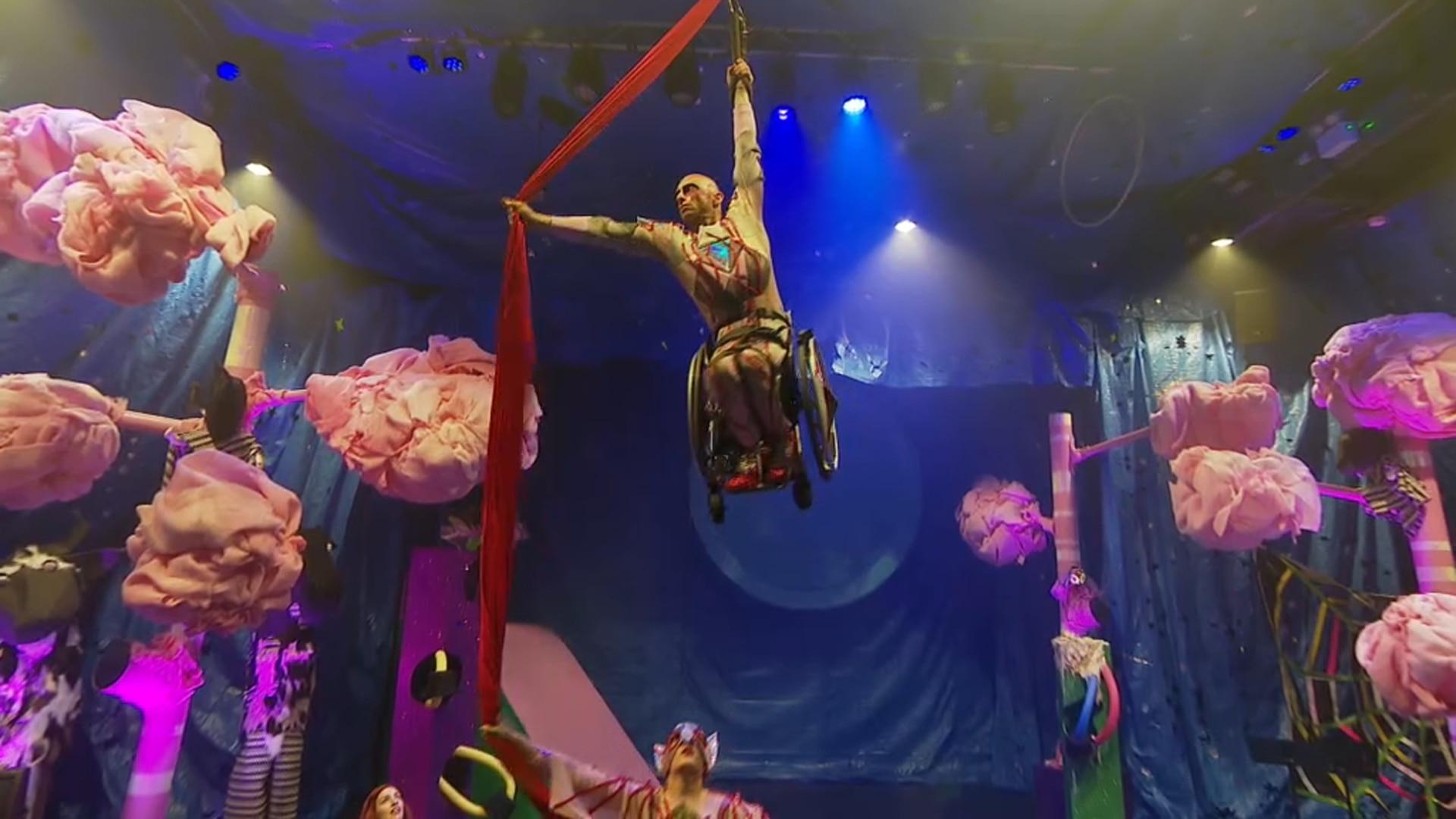 Wheelchair aerial performer Paul Nunnari in rehearsal.