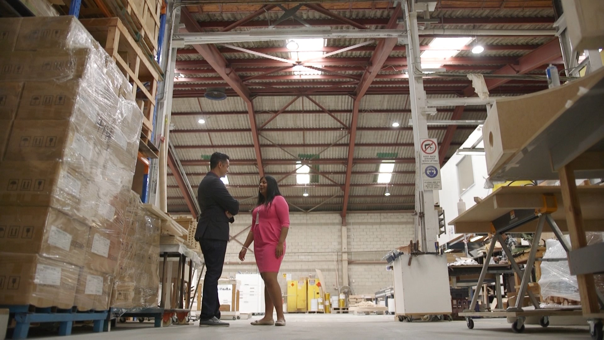 Priyanka with Ricardo Goncalves in the Luxmy factory.