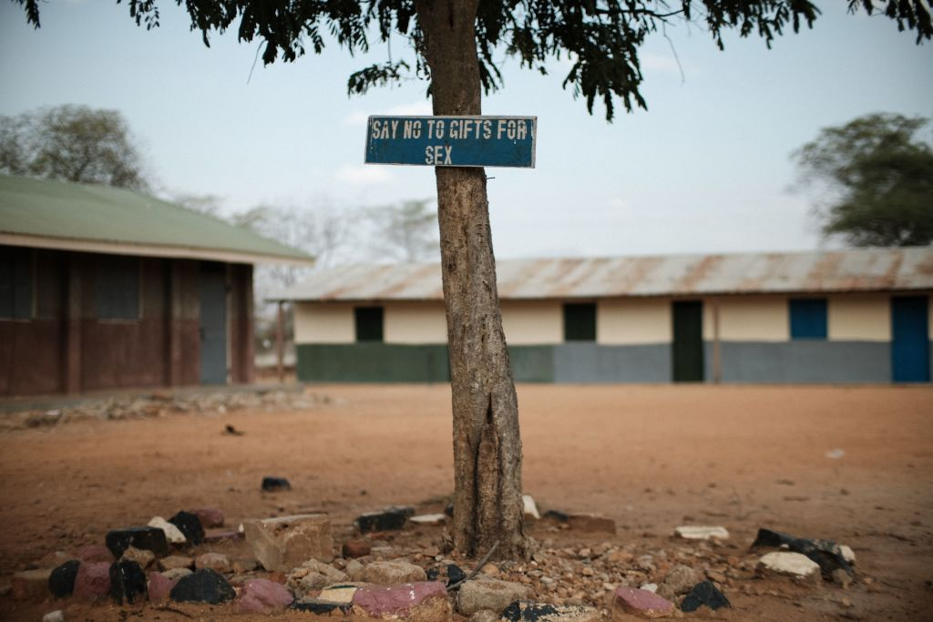 This photo taken on January 31, 2018 shows a message plate at Kalas Girl's primary school, which hosts escaped girls from female genital mutilation.