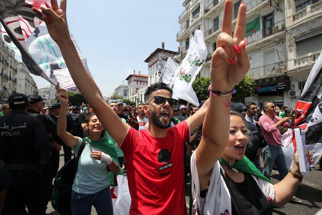Demonstrators in Algiers earlier this week.