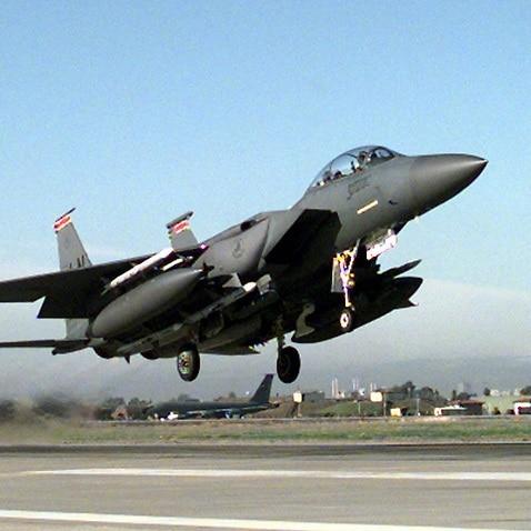 File: F-15E Strike Eagle takes off from Incirlik Air Base, Turkey.