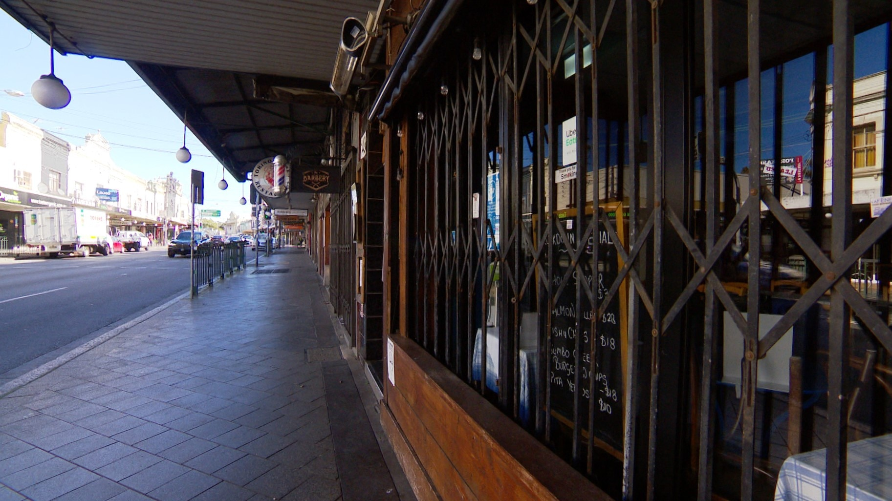 The usually busy streets of Enmore Road are quiet during lockdown.