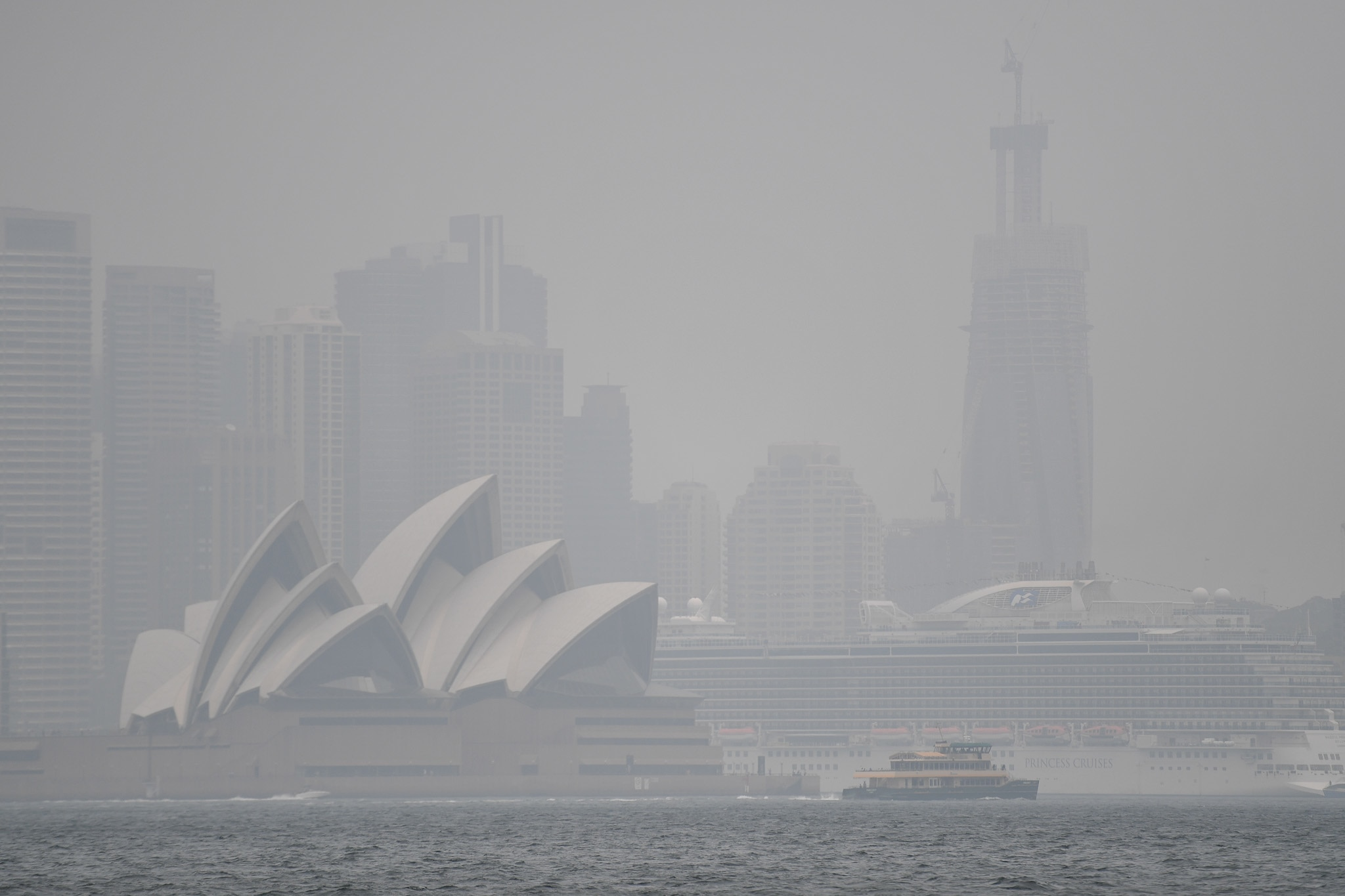 Heavy rain and clouds have replaced smoke over Sydney.