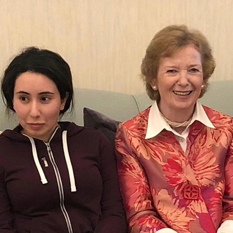 Sheikha Latifa photographed alongside Mary Robinson, former UN High Commissioner for Human Rights (AAP)