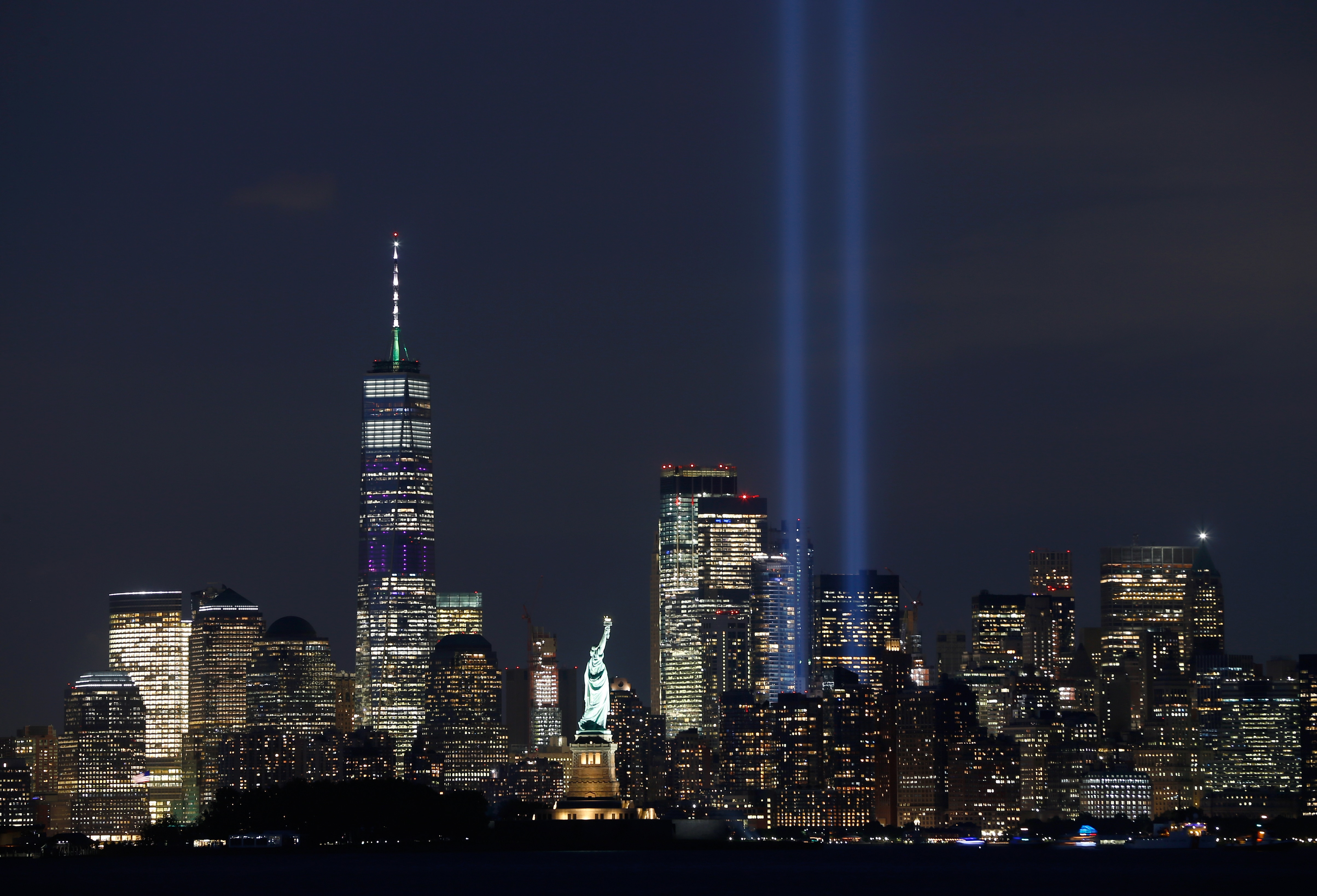 The annual Triibute in Light is illuminated on the skyline of lower Manhattan on the eve of the 18th anniversary of the 9/11 attacks in New York City.