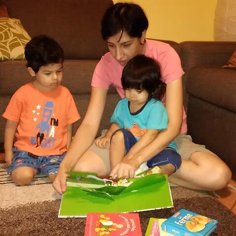 Filipa Pinto com os filhos Tiago e Elisa