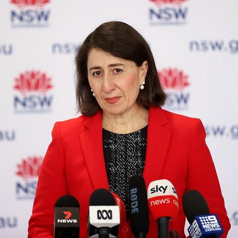 NSW Premier Gladys Berejiklian speaks to the media during a press conference in Sydney.