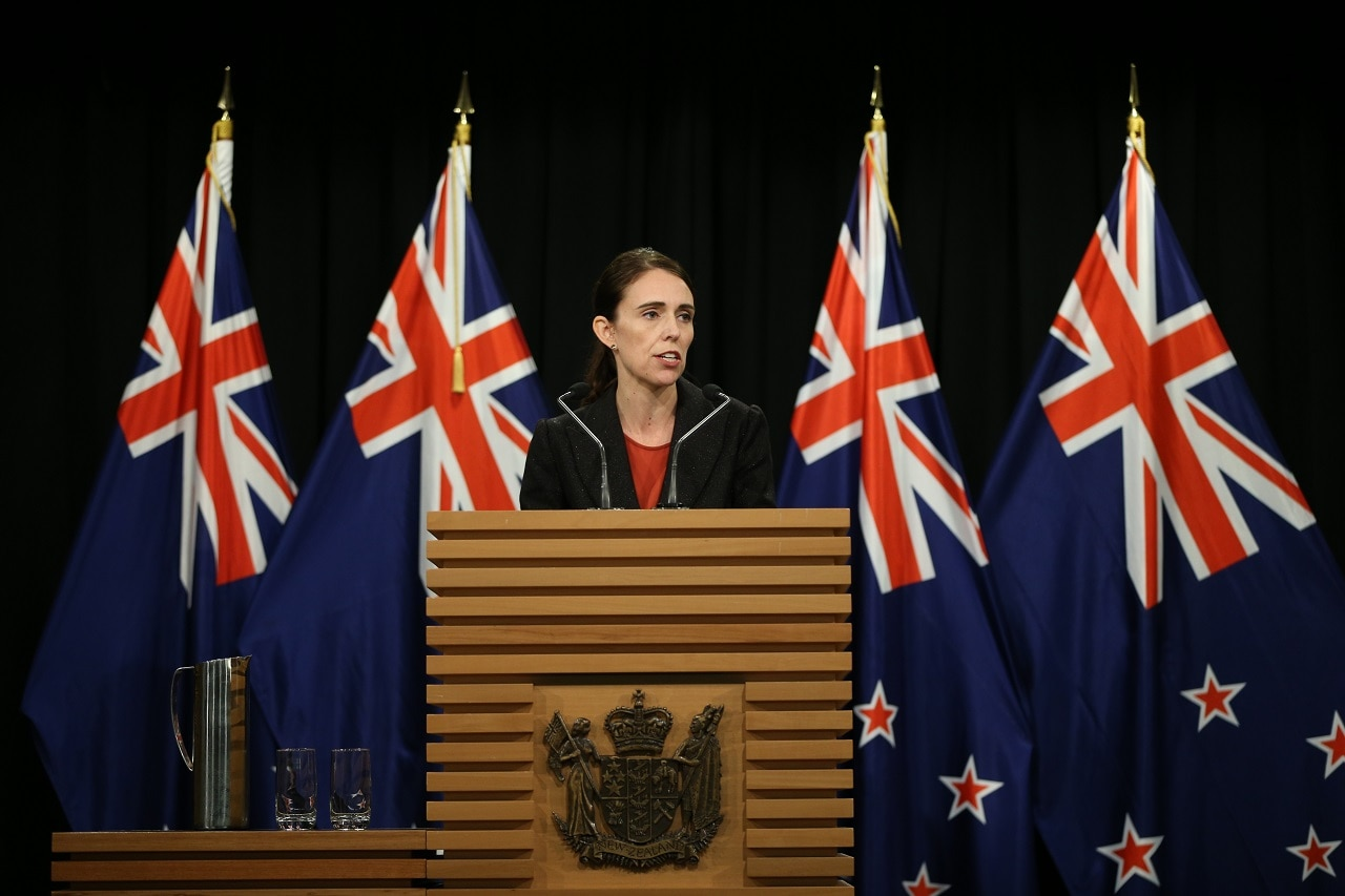 Prime Minister Jacinda Ardern speaks to media.