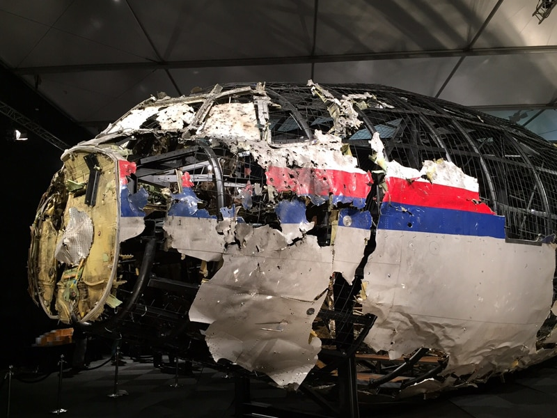 The reconstructed front of MH17, which was shot down over Ukraine.