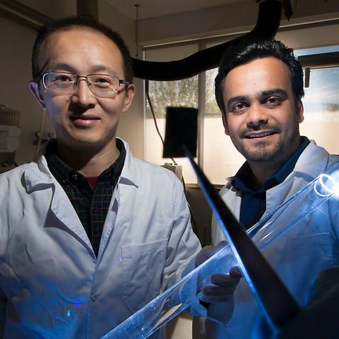 Ankur Sharma (right) with Lead senior researcher Associate Professor Larry Lu