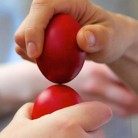 Egg-cracking during Easter in Greece