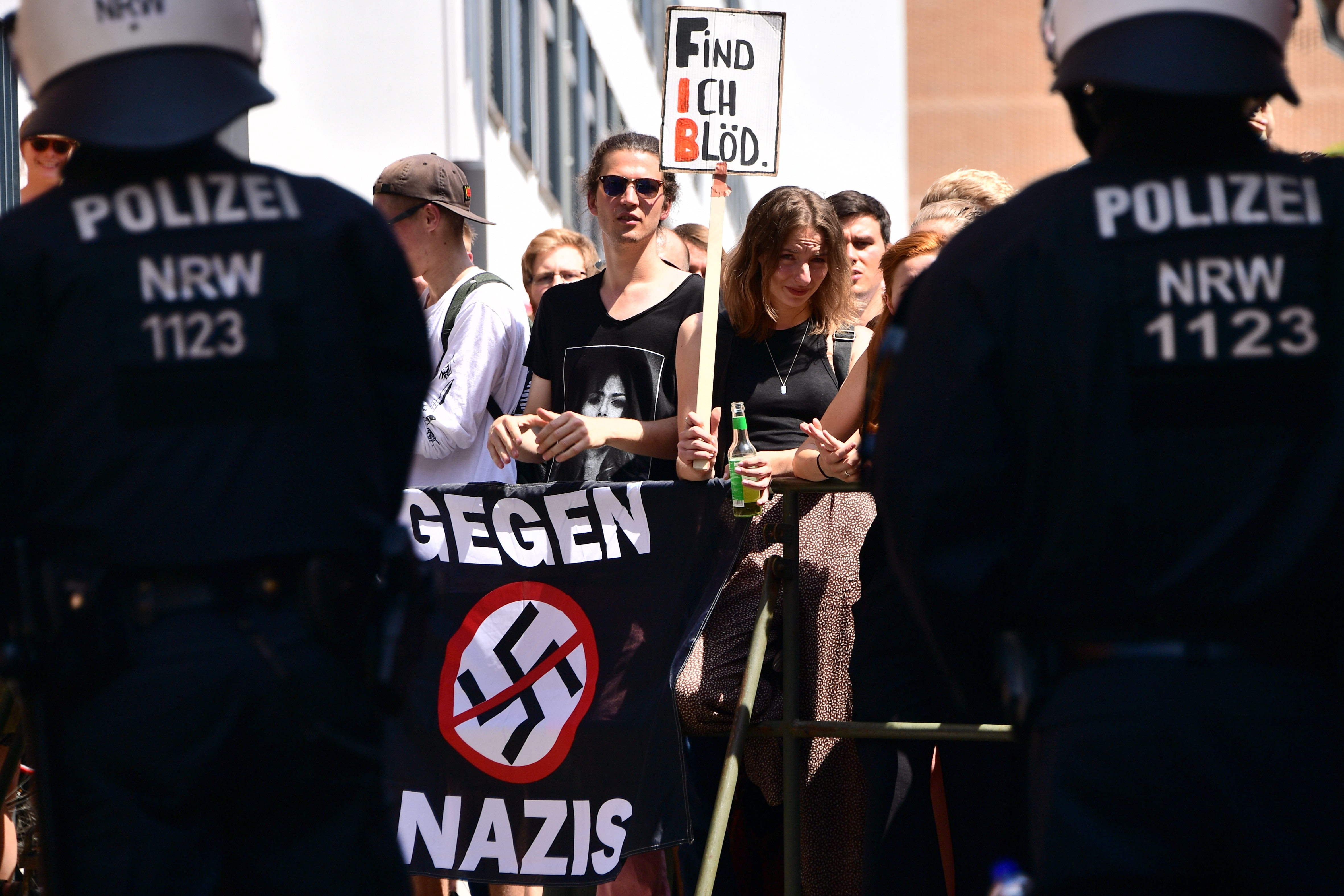 Anti-Nazi protesters and police are seen in Halle, Germany.