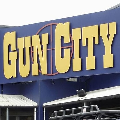 A gun shop in Christchurch, New Zealand.