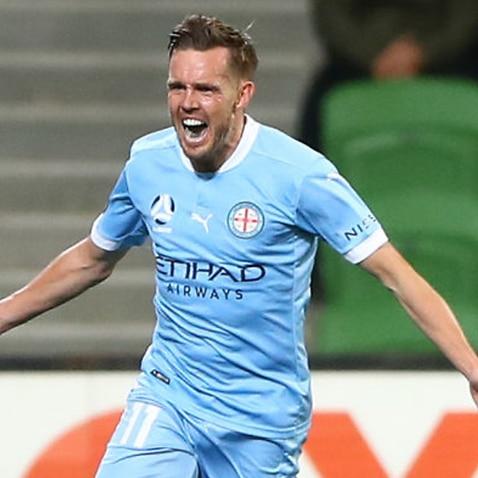 Craig Noone celebrates a goal for Melbourne City