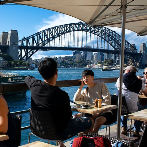 A file photo of people dining at Sydney's Circular Quay.