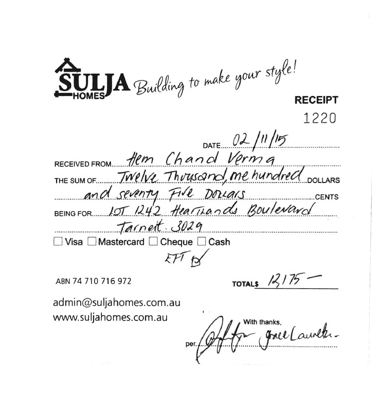 Receipt issued by Sulja Homes as part of the upfront payment for the double storey dwelling in Tarneit