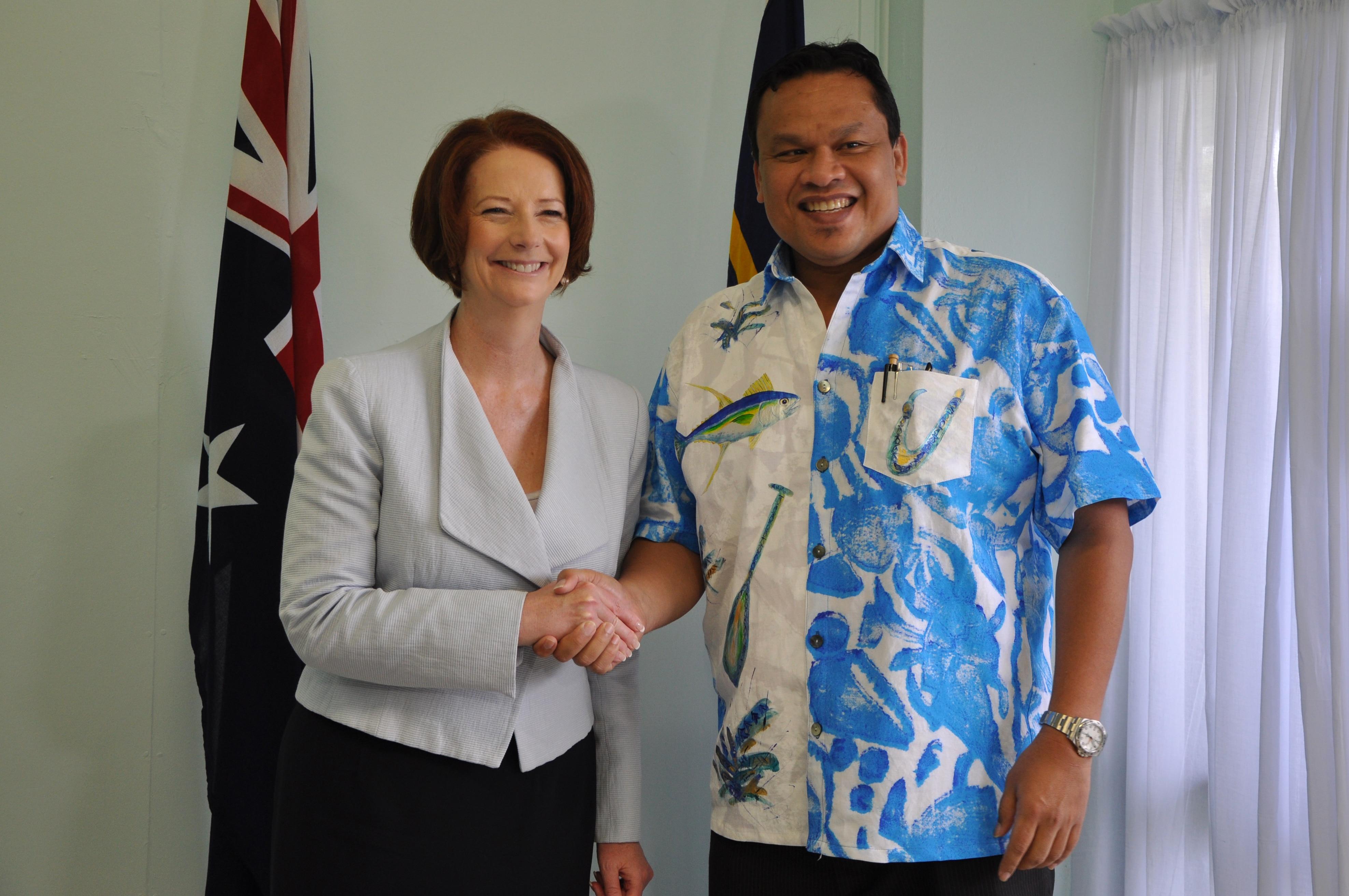 Mr Dabwido with Julia Gillard