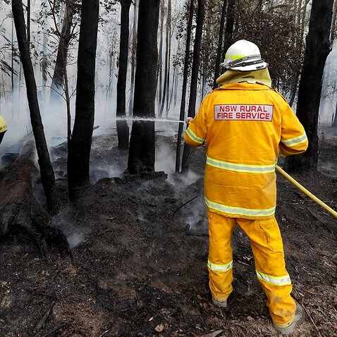 Firefighters manage a controlled burn near Tomerong, Australia