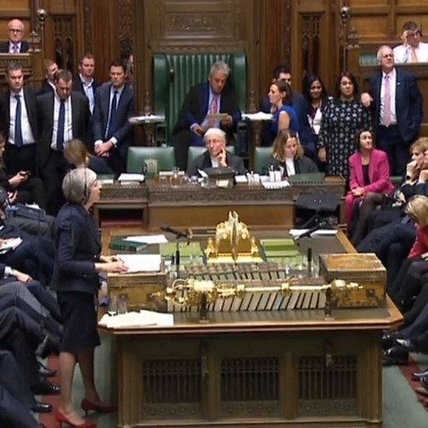 Prime Minister Theresa May speaks in the House of Commons.