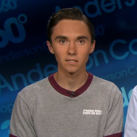 David Hogg (pictured left) denied false 'crisis actor' claims on CNN.
