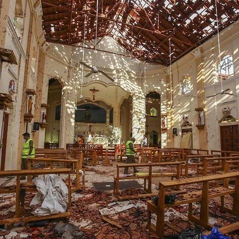 The damage inside St Sebastian's Church in Negombo