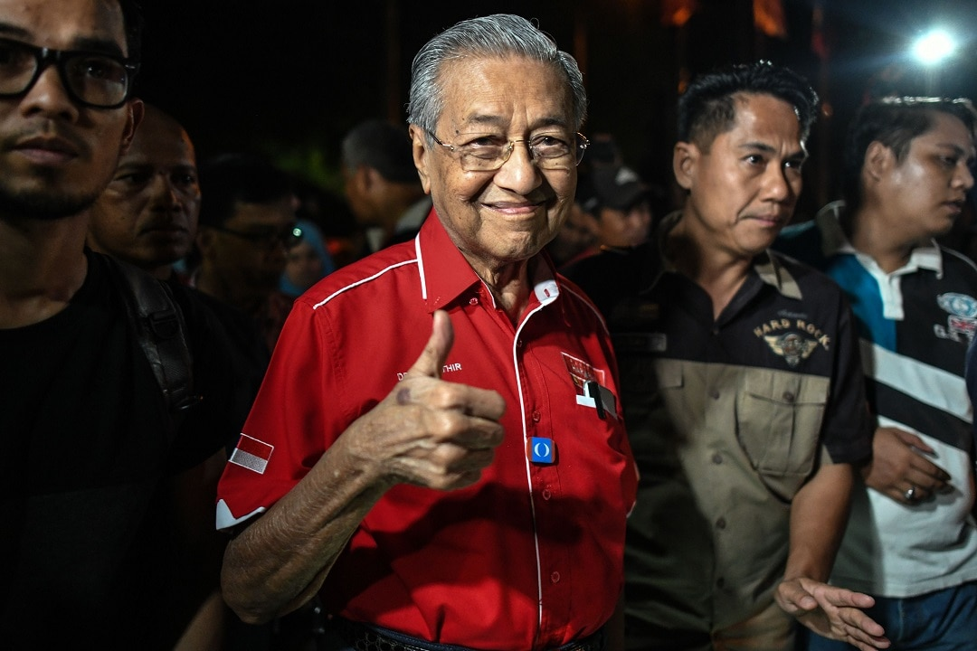 Mahathir Mohamad on the campaign trail.