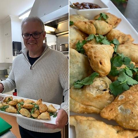 Scott Morrison said he would like to share his vegetable samosa meal with Narendra Modi.