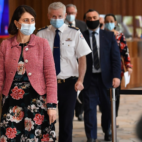 NSW Premier Gladys Berejiklian arrives to speak to the media during a press conference in Sydney, Friday, September 10, 2021. (AAP Image/Joel Carrett) NO ARCHIVING