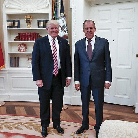 President Donald Trump meets with Russian Russian Foreign Minister Sergey Lavrov, right, in the White House in Washington, Wednesday, May 10, 2017.
