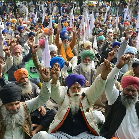 Indian farmers protesting in Amritsar, demanding complete farm debt waiver.