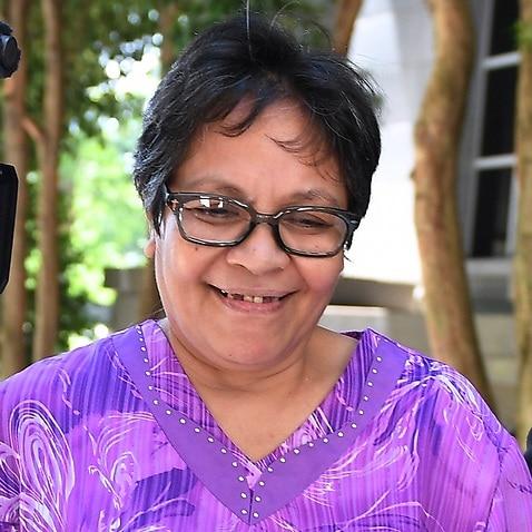 Maria Elvira Pinto Exposto after court on Tuesday.