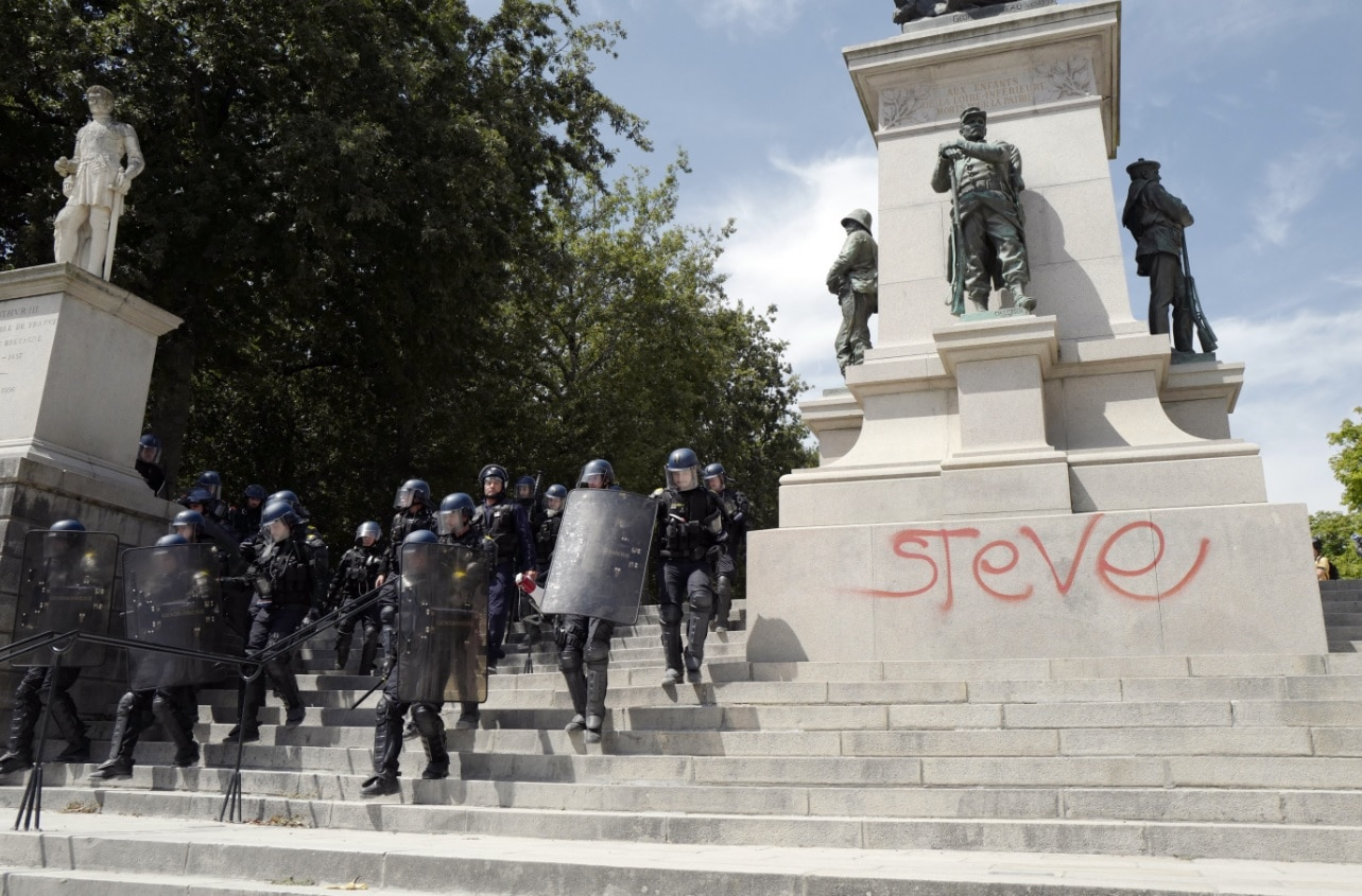 Riot mobile gendarmes are deployed during a rally in central Nantes, France, 03 August 2019, called in memory of Steve Maia Canico.