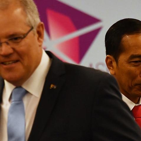 Prime Minister Scott Morrison, left, and Indonesian president Joko Widodo