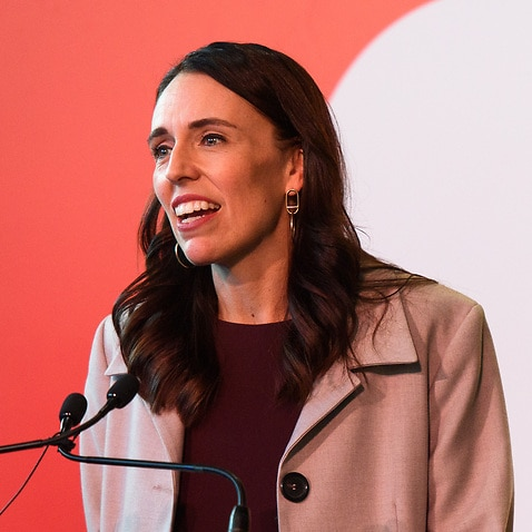 New Zealand Prime Minister Jacinda Ardern speaks to the media at the reception for the first Trans-Tasman bubble flight from Australia to Wellington in April.