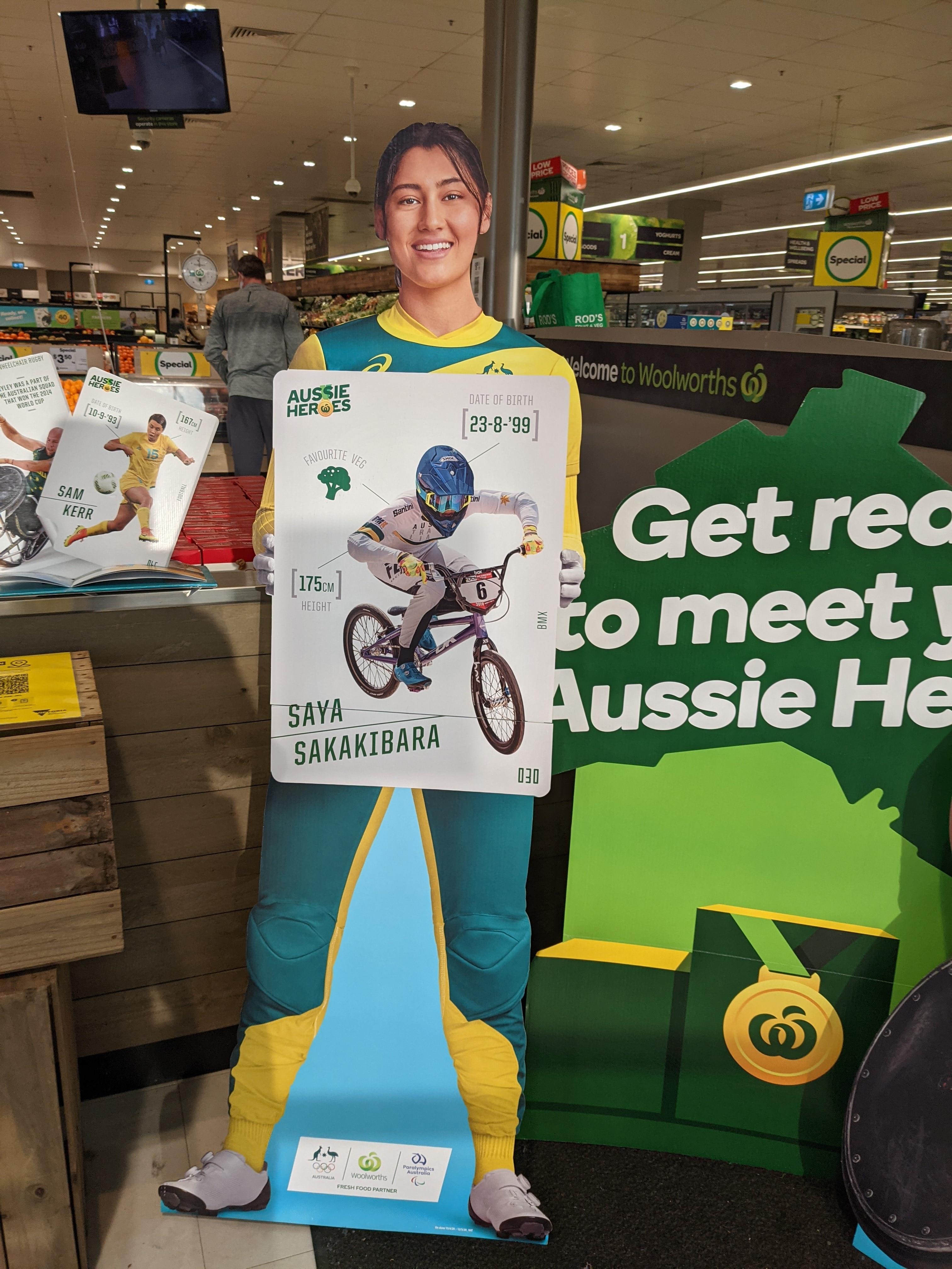 Cardboard cut-out of Saya Sakakibara, an half-Japanese BMX athlete who represents Australia for the Tokyo Olympics 2020.