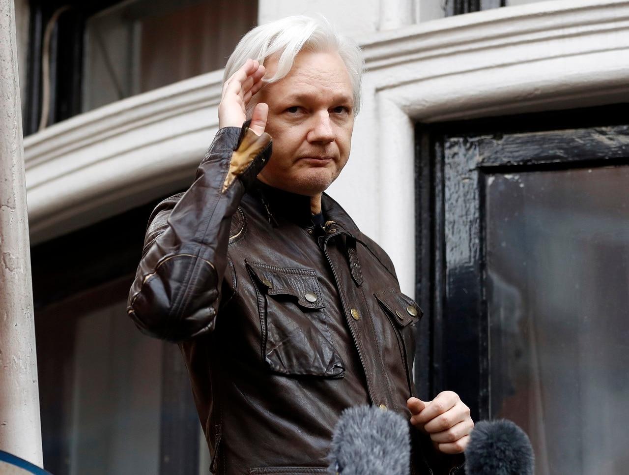 WikiLeaks founder Julian Assange on a balcony of the Ecuadorian embassy in London.