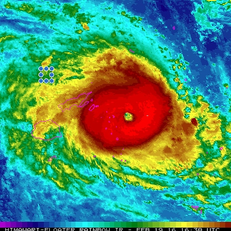 A meteological image of Hurricane Winston.