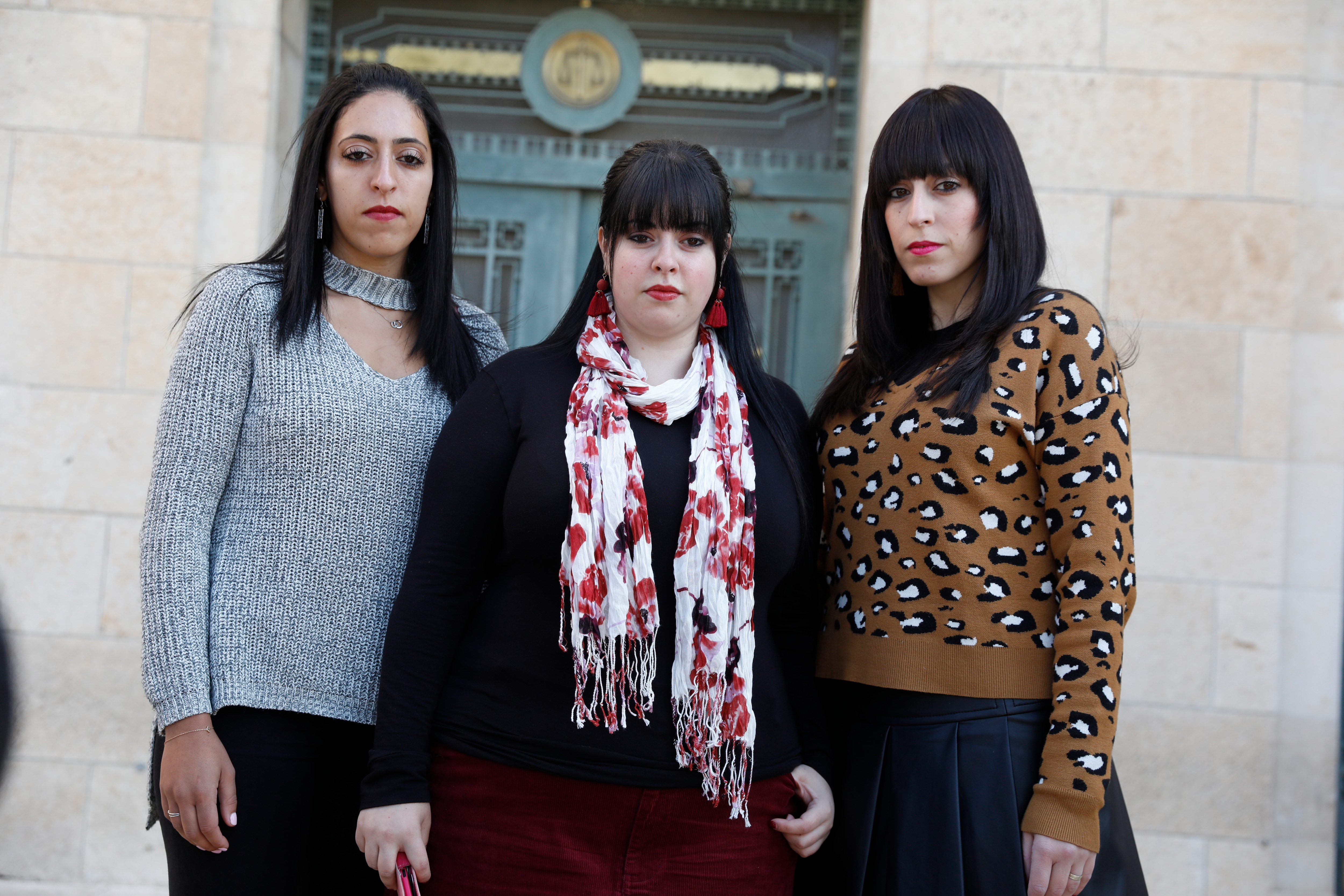Three of the alleged abuse victims: Elly Sapir (L), Dassi Ehrlich (C) and Nicole Meyer from Melbourne, all former students of Ma