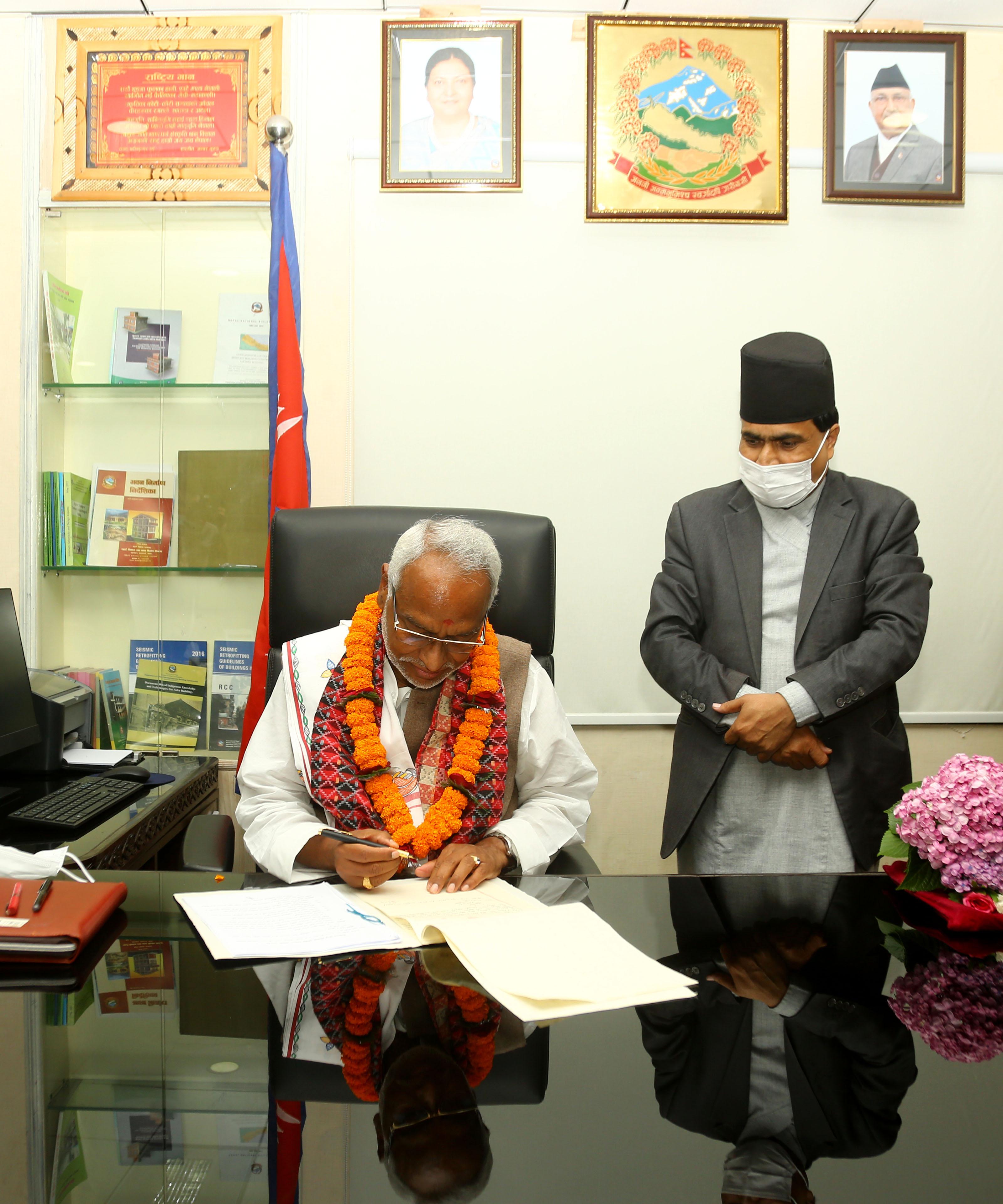 Senior JSP leader Rajendra Mahato assumes officer of Deputy Prime Minister and Minister for Urban Development